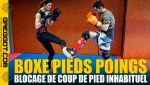 Boxe-Pieds-Poings-Blocage-Coup-Pied-Inhabituel